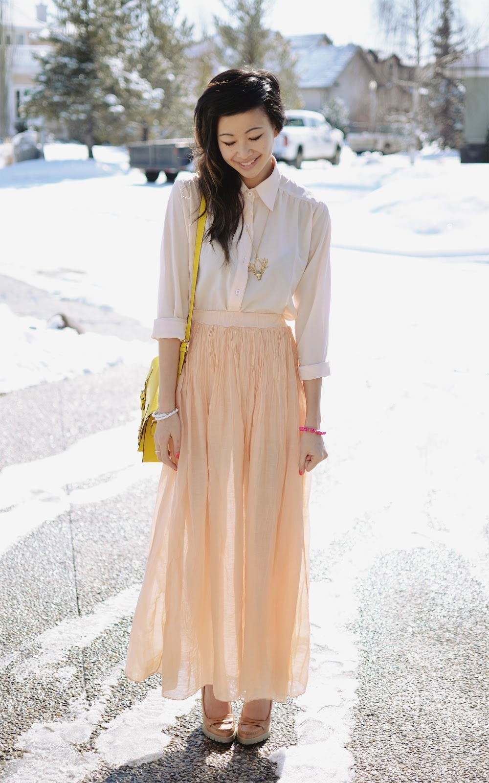 "peach silk maxi skirt c/o LOVE, cream silk chiffon top c/o goodnight macaroon, deer necklace c/o mad lady, gold nugget pink skull c/o <b ""="""" http:="""" target=""_blank"" www.requiredflare.com="""">required flare, christmas elk ring from chicwish, yellow purse from romwe, (image: theordinarypeoples)"