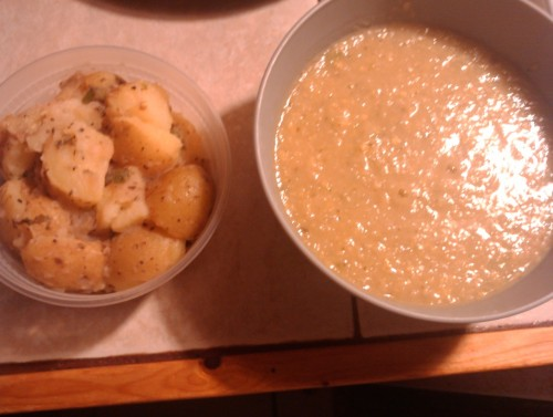 Last night I made a super easy & tasty potato salad & cabbage soup. The potato salad was Yukon potatoes (any potato will be just as tasty) olive oil, green onions, Basil, parsley, garlic, & salt. I boiled the potatoes & mixed everything together. I cut the potatoes into chunks & it was delicious! The cabbage soup was garlic yukon potatoes cooked in olive oil & then I added bouillon broth, cabbage, corn, & parsley. Once everything was cooked, I put it all in the blender & pureed. Once creamy, I poured it back into the pot & added some salt! It was all very tasty!