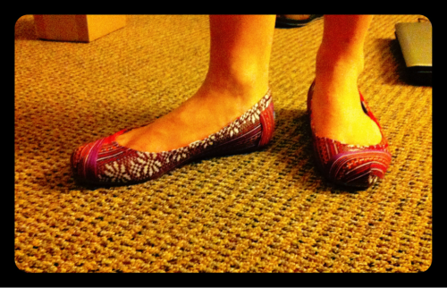 3/29/2012: Heidi's wedding shoes!!! Toms ballet flats!