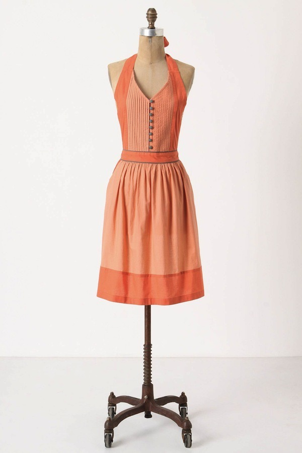 [Mellow Coral Apron by Anthropologie]