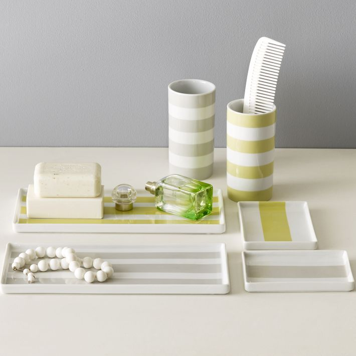 Chartreuse + Gray [Porcelain Stripe Trays by West Elm]