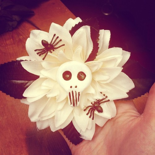 My hair flowers for sale soon! #flower #skull #rockabilly (Taken with instagram)