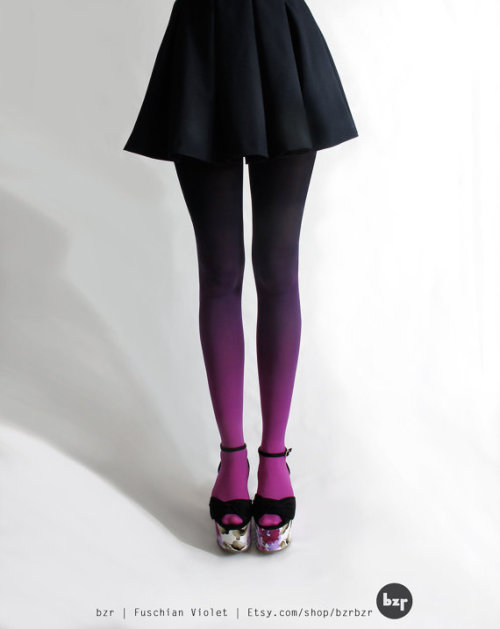 Wishlist: Ombre dip-dyed tights. Love, love, love all the colors + fun. - PopThreads (via bzr Ombré tights in Fuschian Violet by BZRshop on Etsy)