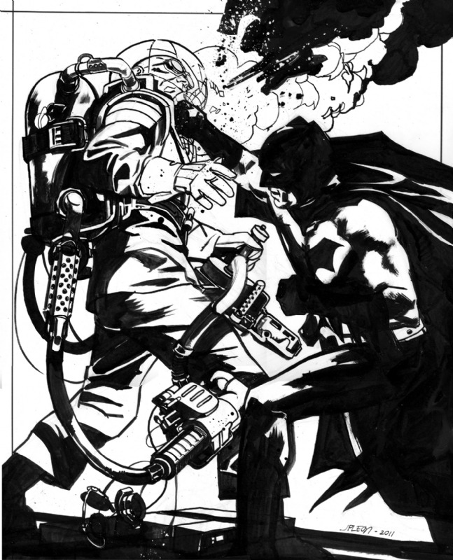 awyeahcomics:  Batman versus Mr. Freeze by JP Leon