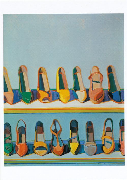 Postal Artwork: Shoe Rows, 1975, Wayne Thiebaud (American, b. 1920)     Copyright Wayne Thiebaud/ Lincensed by VAGA, New York, NY-Pomegranate Communications Inc.