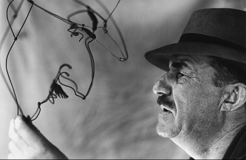 kvetchlandia:  Artist Fernand Léger Holding a Wire Portrait of Himself Made by Sculptor Alexander Calder, Paris     Uncredited and Undated Photograph
