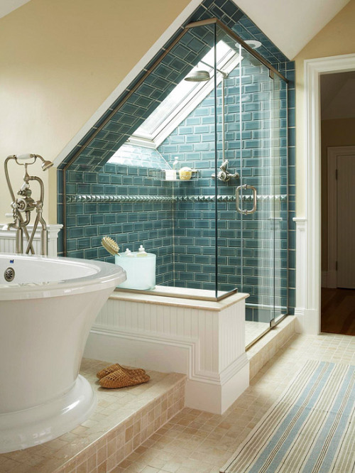 Excellent use of the eaves. What a great shower and bath!  Follow CollegeGuyDesign if you like things like this showing up on your dash!  georgianadesign:   Via Pinterest