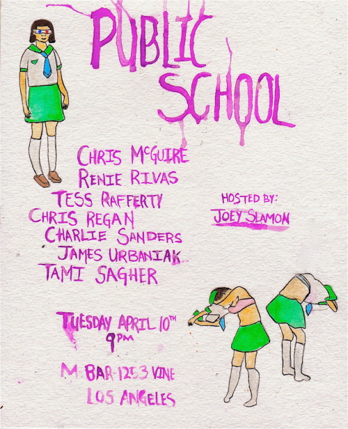natashavc:  publicschoolshow:  Public School! On Tuesday, April 10th at 9pm you should see these big globs of talent: Chris McGuire * Renie Rivas * Tess Rafferty * Chris Regan * Charlie Sanders * Tami Sagher *  James Urbaniak  * Hosted by the efferous Joey Slamon. RSVP NOW to see the show in 3D.  sha la la la