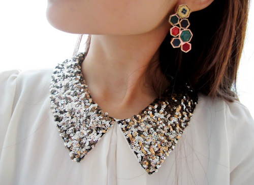 what-do-i-wear:  SEQUIN COLLAR SHIRT FROM KOREA, HOUSE OF HARLOW EARRINGS (image: style-societe)