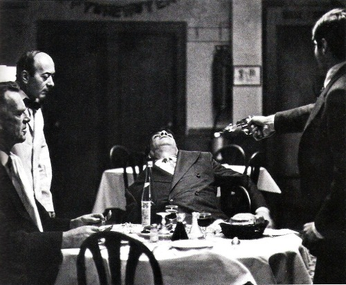 The Godfather (1972) Louis' Restaurant, where Sollozzo and McCluskey are gunned down over the veal, was the old Luna restaurant under the elevated White Plains Road IRT in Belmont, New York's largest Italian community.