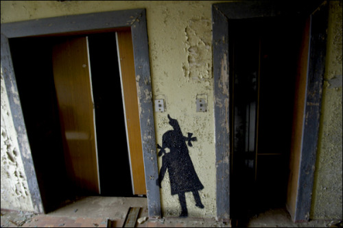junkycosmonaut:  Pripyat, Chernobyl  Graffiti artists said to be from Germany and Belarus have gone round the town of Pripyat drawing silhouettes of the missing population.