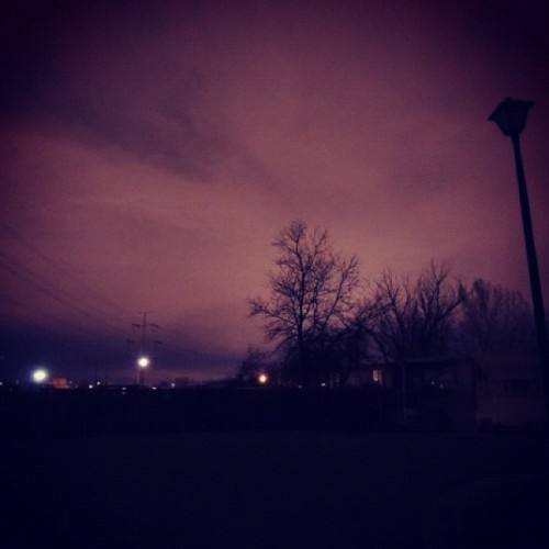 #night #sky #dark #purple #nightime #clouds #telephonepole #lines #wires #fence #tree #creepy #light #pole #post #trees #outdoors #instamood #photooftheday  (Taken with instagram)
