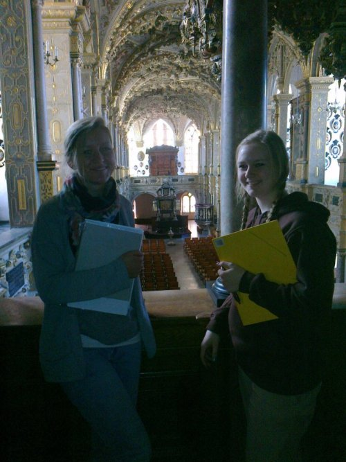 In the castles church with Freja and Sissel
