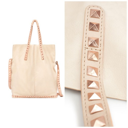 like i need another bag but this one has rose gold studs- making it a must have. Zara soft shopper with tacks, $159