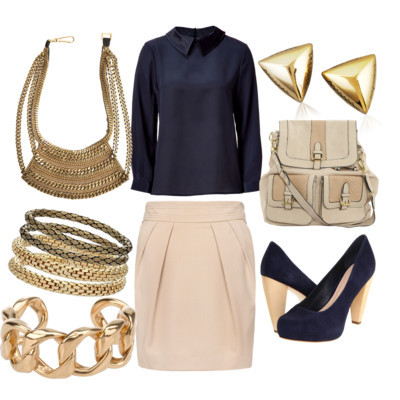 what to wear at work by asteorra featuring stud earringsMarc by Marc Jacobs silk blouse$300 - stylebop.comMango short skirt£35 - mango.comLoeffler Randall platform heels$450 - couture.zappos.comDorothy Perkins backpack bag$69 - dorothyperkins.comChanel chain bracelet£485 - farfetch.comFiona Paxton bib necklace$350 - calypsostbarth.comHouse of Harlow 1960 stud earrings$30 - neimanmarcus.comMiss Selfridge gold bangle$15 - missselfridge.com