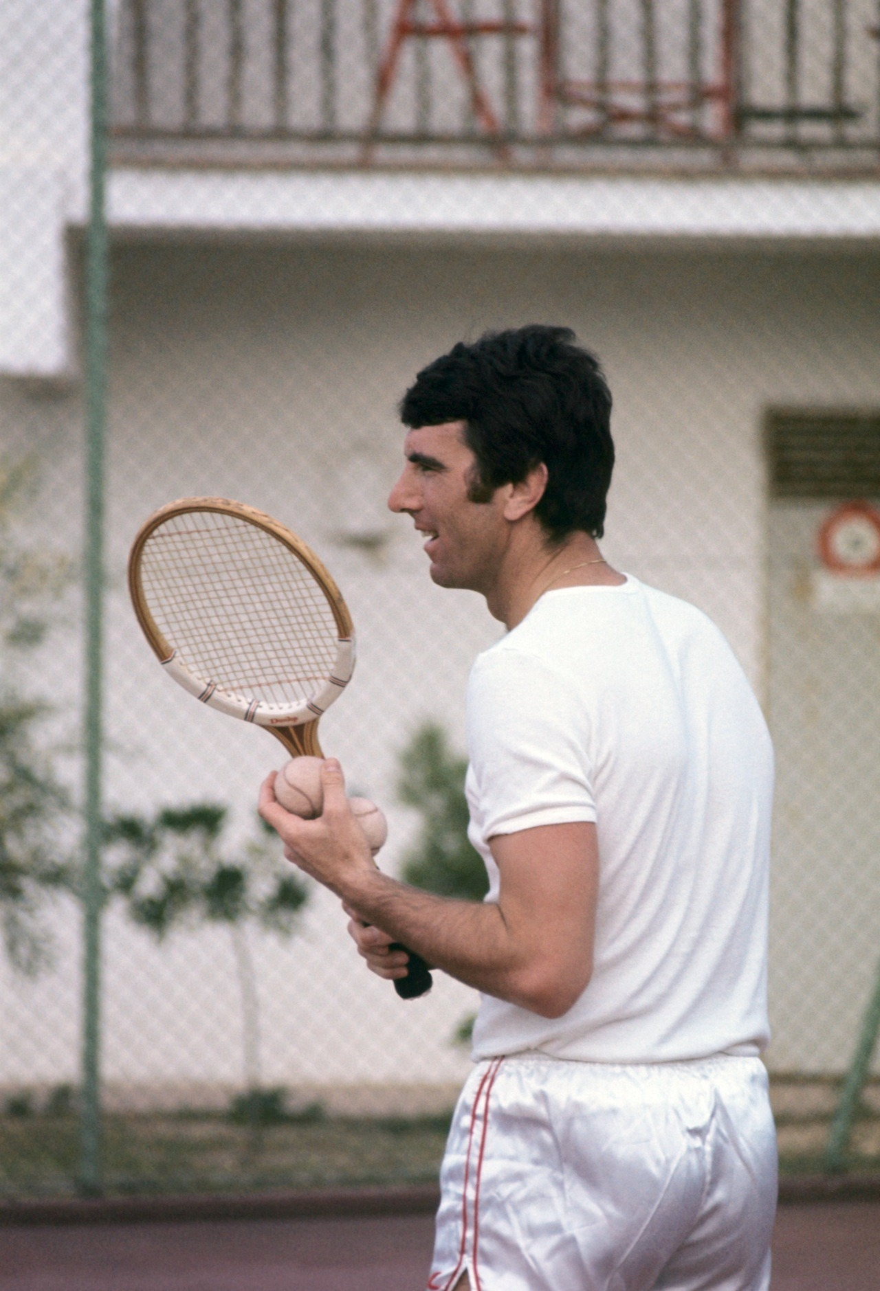 Dino Zoff playing tennis with Sepp Maier, 1977.