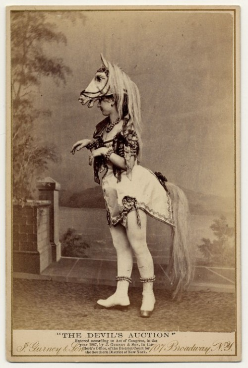 Exotic dancer in horse costume - c.1890