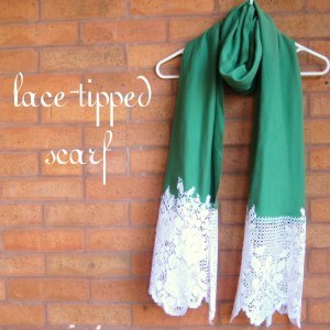 plus-ten-kharisma:  I have a super secret love affair with scarves.  Well, super, but not really secret.  <3.  This is a very sweet, simple tutorial on how to dress up a scarf with just a little lace (another of my favorite things)!