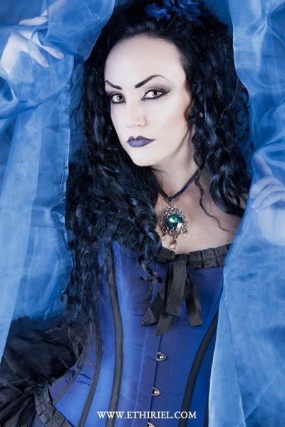 The beautiful Lady Amaranth wearing Alchemy Gothic's 'Empress Eugenie's Blue Heart Diamond'