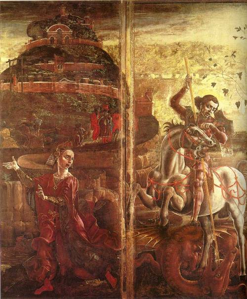 """St George and the Princess"", Cosmè Tura, 1469.  This painting was once part of the cover of the organ in the Cathedral in Ferrara."