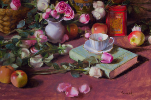 jerzee55:  Roses & Teacup by Maria Nash