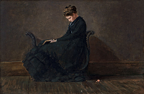 deadsunflower:  Winslow Homer, Portrait of Helena de Kay (ca. 1872). Oil on panel. 31 x 47 cm Museo Thyssen-Bornemisza, Madrid.