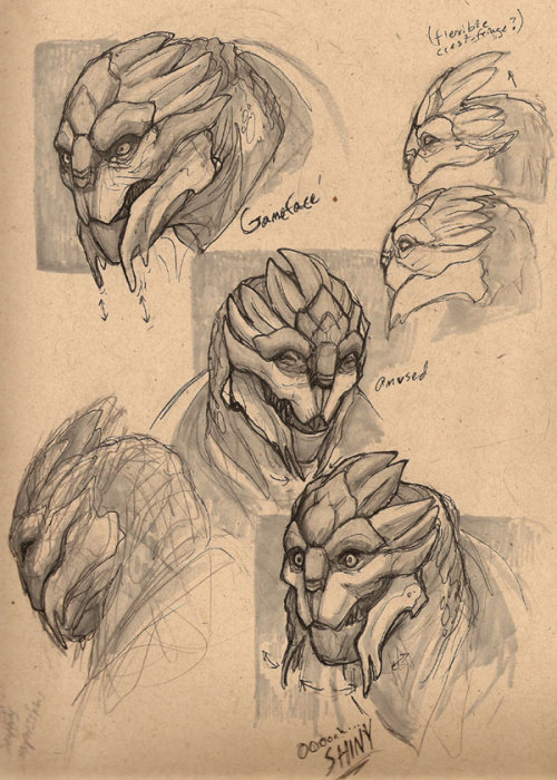 relay314:  Turian Expression Sketches - by Ironfeathers I love Ironfeathers Mass Effect art SOOOO HARDDDD  MOMMA PARROT DOES AWESOME