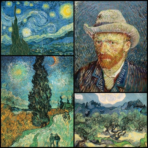 Happy 159th birthday, Sir Vincent Willem van Gogh! Certainly one of the most brilliant painters the history of art has ever known. Collage includes: Starry Night(1889) - his best known painting Road with Cypress and Star (1890) - my personal favorite Self-Portrait with Grey Felt Hat (1887) Olive Trees with the Alpilles in the Background (1889)