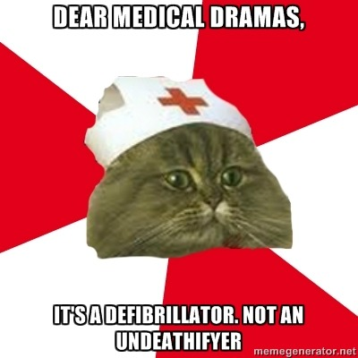"cranquis:  nursingstudentcat:  CPR does not stand for ""Clean, Pretty, Reliable""  the facts i'm estimating really high and saying CPR has a 5% success rate it doesn't go ""fuck death"" and then bring people back to life it only works if you're mostly dead (well. actually dead. but recent.) basically your heart goes all wibbly and you shock it to STOP it in hopes it will restart normally giving cpr to someone who died from like blood loss will do NOTHING if you've got to shock someone like ten times they're probably dead sorry if it makes a KACHUNK noise you're kind of screwed it's not working right the same goes if the person jumps ten feet off the floor seriously how does that work  The stats are shocking sobering. A 2009 NEJM study of 433,895 patients who received CPR of any type (defibrillator or not) INSIDE a hospital showed that only 18.3% of those patients survived to be discharged from the hospital. Meanwhile, OUTSIDE a hospital setting, CPR success/survival rates are ~5%, according to a 2011 study by University of Minnesota Medical School. So, while it's true that ""more people survive a cardiac arrest WITH CPR than WITHOUT it""… CPR/defibrillation is not the magic wand that TV makes it appear to be."
