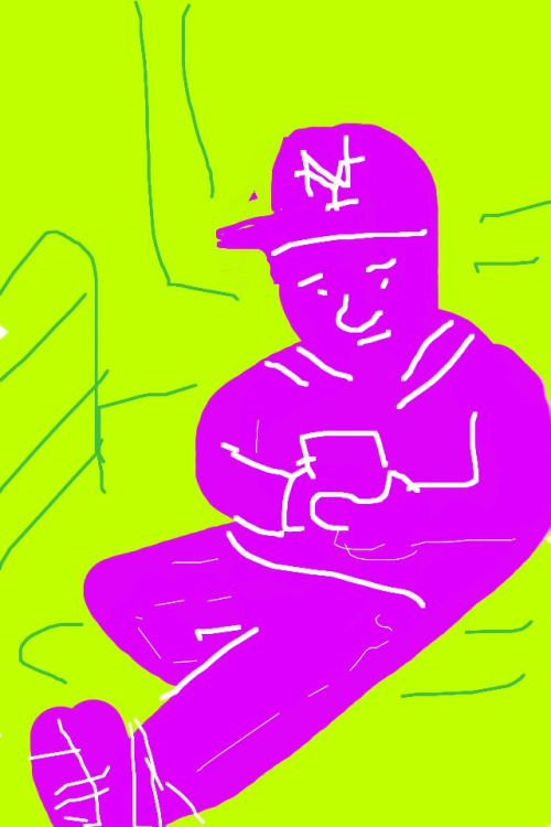 Subway rider drawn on iPhone.
