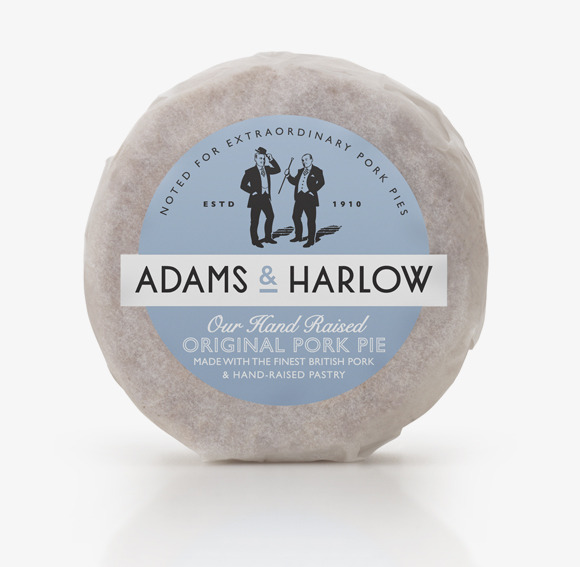 "Adams & Harlow identity and packaging by Designers Anonymous®  Love the quirkiness and style~ Please note the ""S"" in ""ADAMS"" is based on a meat hook, Nice subtle detail in my opinion :)"