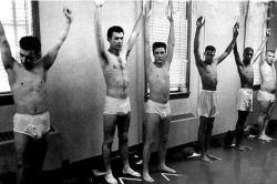 Elvis, inducted into the army on March 29th, 1958. Evidently, the fifties was a terrible decade for men's underwear.