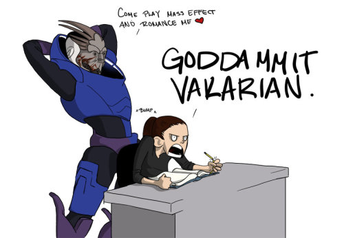 indigorally:  marshowl:  I HAVE HOMEWORK, VAKARIAN by ~CreativeImages AHHHHHH <3   Hehehe.    I just can't resist you, Garrus. This is becoming a background somewhere.