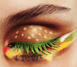 "creative! entertainmentweekly:  papermag:  This hamburger eye is making us hungry. More Morning Funnies here.  In France, they call it an ""eyeburger avec du fromage."""