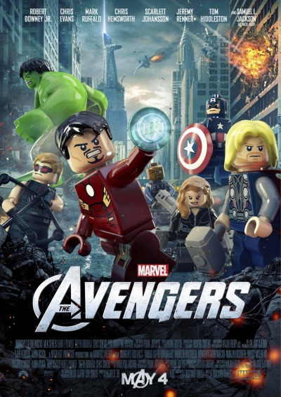 agentmlovestacos:  I LOOOOOVE the LEGO version of the Marvel's The Avengers movie poster. Love love love. These will be available in select movie theaters across the U.S. on May 4 while supplies last! Before you ask, no I don't have a list of theaters and no, I don't have any info about getting these outside the U.S.