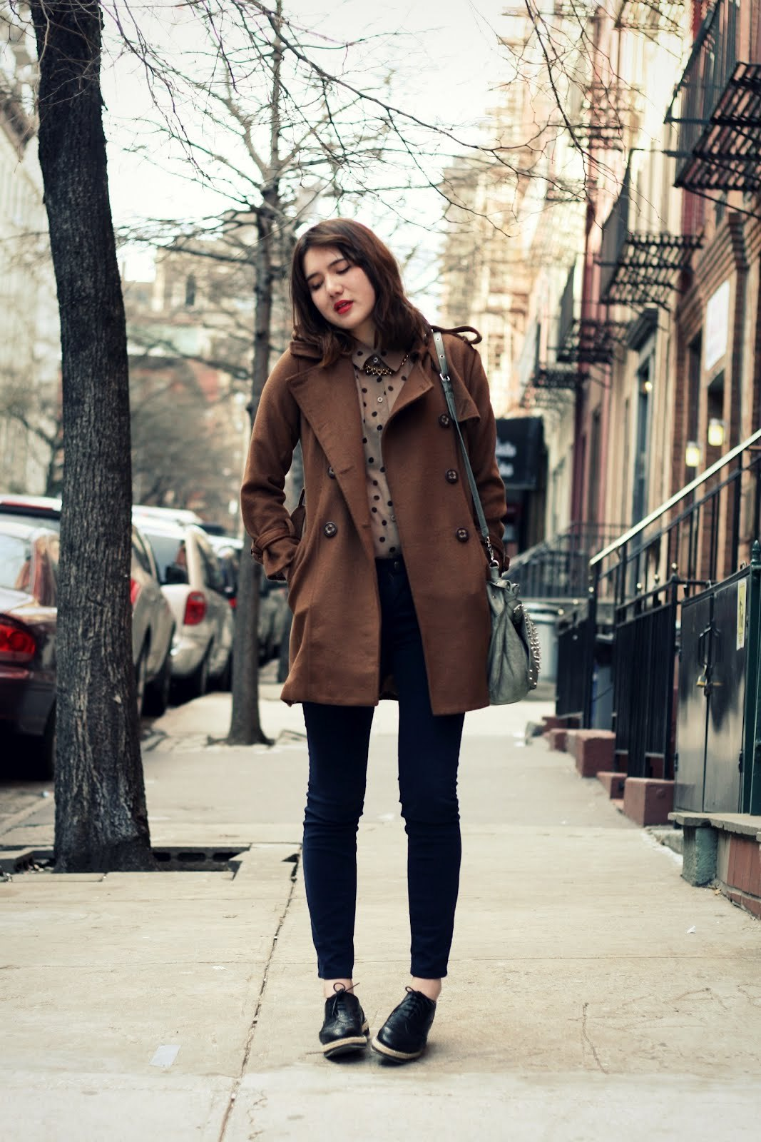 Blouse - CALICO, Coat - borrowed, Necklace - Bottica, Jeans - Urban Outfitters, Shoes -Wanted, Bracelet - vintage