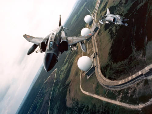 Phantoms over the three US-operated geodesic radomes at RAF Fylingdales (via). (More Fylingdales later, perhaps.)