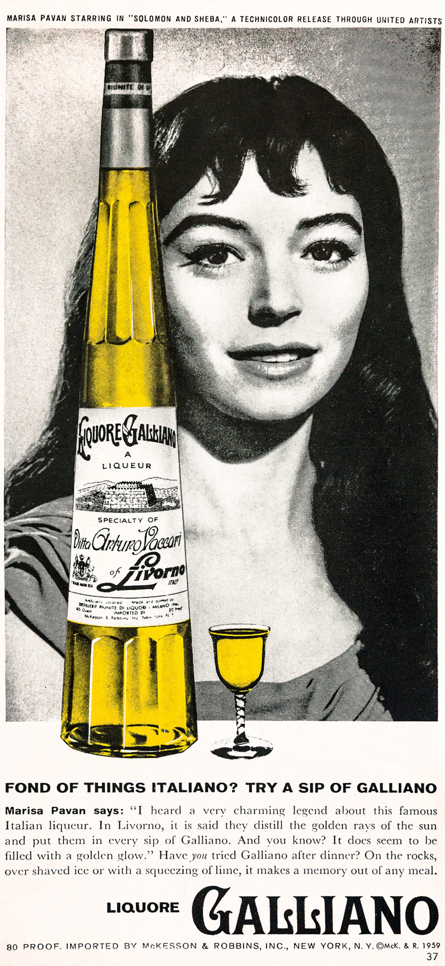 Liquore Galliano Advertisement - Gourmet: March 1960