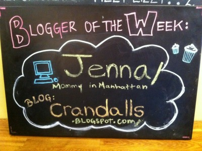 Mommy in Manhattan is this week's Blogger of the Week and is being displayed on our chalkboard in our East Village shop! Want to be blogger of the week? Tweet it at us or post on our Facebook page. Along with the fame of getting your blog featured in our shop, as Blogger of the Week you get 50% off ALL purchases for a week!