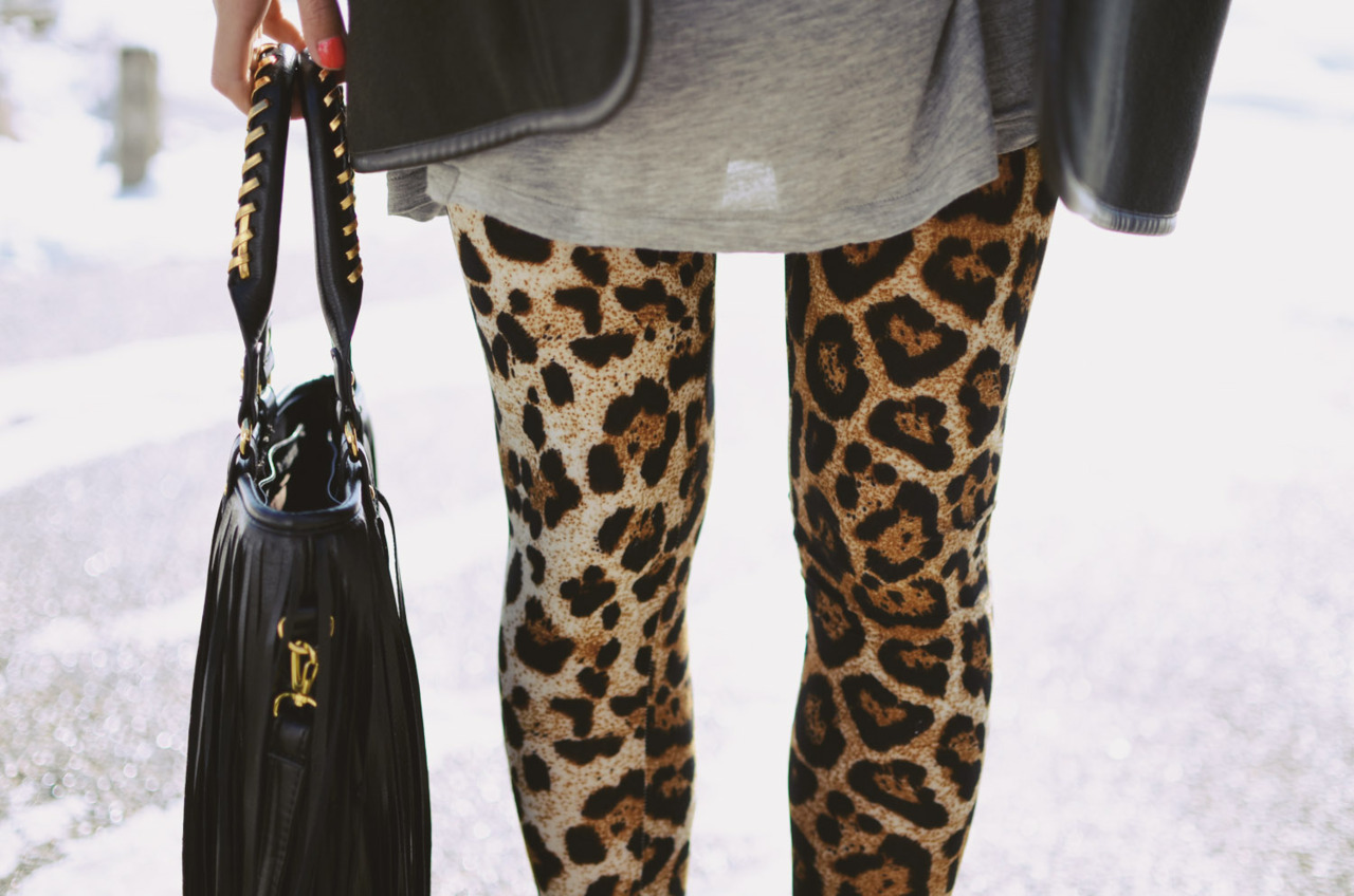comfiest leopard leggings c/o hello parry, fringe tassel bag c/o romwe, stylish dark grey jacket c/o ianywear (image: theordinarypeoples)