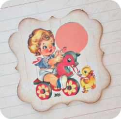 Vintage Boy on Horse Tags