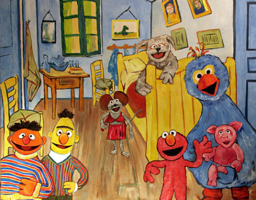 sesamestreet:  It's Vincent van Gogh's birthday! To celebrate the 35th anniversary of Sesamstraat, the Dutch version of Sesame Street, Sesame Workshop partnered with the Amsterdam-based Vincent van Gogh Museum, where Bedroom in Arles hangs, to recreate a version of the famous painting featuring Elmo, Bert, Ernie and the beloved Sesamstraat MuppetsTM  Ienie Mienie, Tommie, Purk and Pino. The special painting, which was unveiled by Sesamstraat actor Frank Groothof, was on display at the museum in December 2011. Read more about it here.