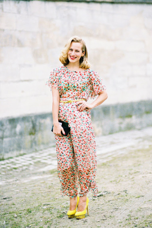 modcloth:  Charlotte Dellal in a fruit print dress photographed by Vanessa Jackman.