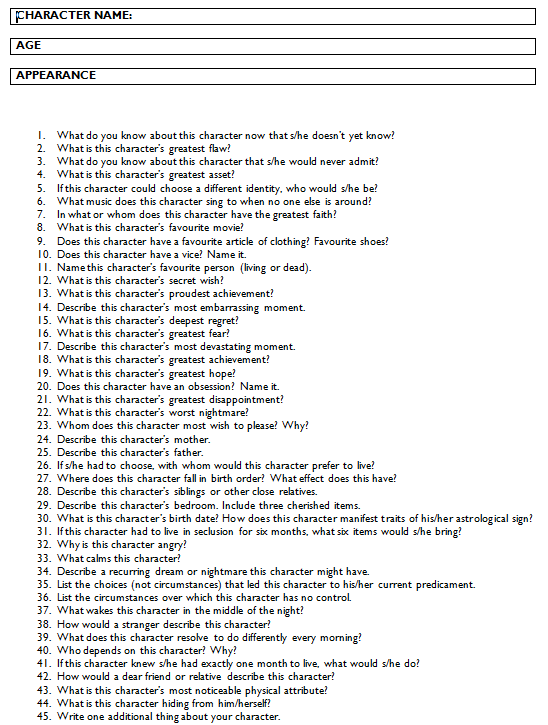 xhikaruchanx:  thisgrrlwithhands:  Answer all these questions and you should have a fully-developed character for your audience to connect with. A strong character can carry a weak plot; but a strong plot can't carry weak characters  oh my god yes