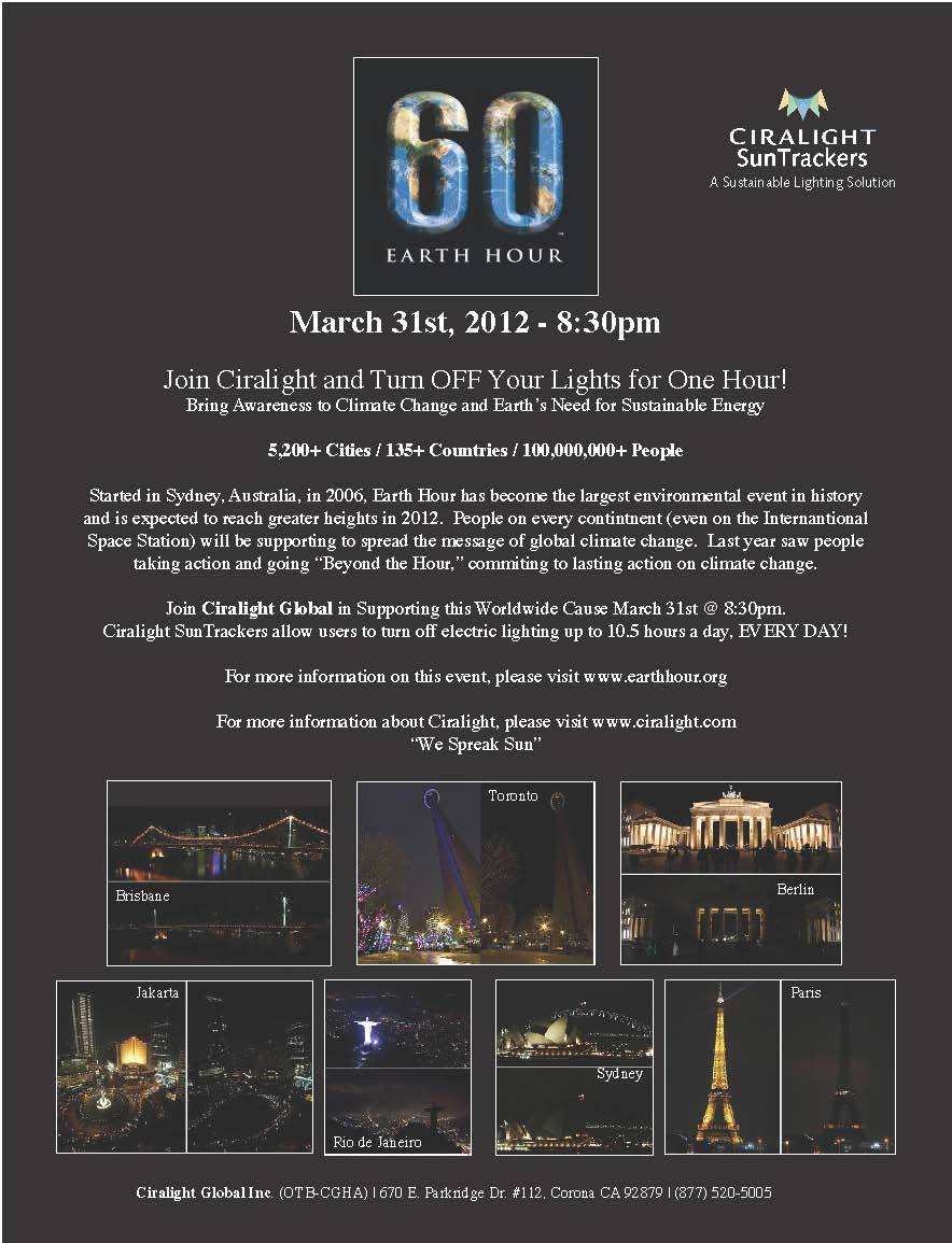 Earth Hour is March 31st @ 8:30pm