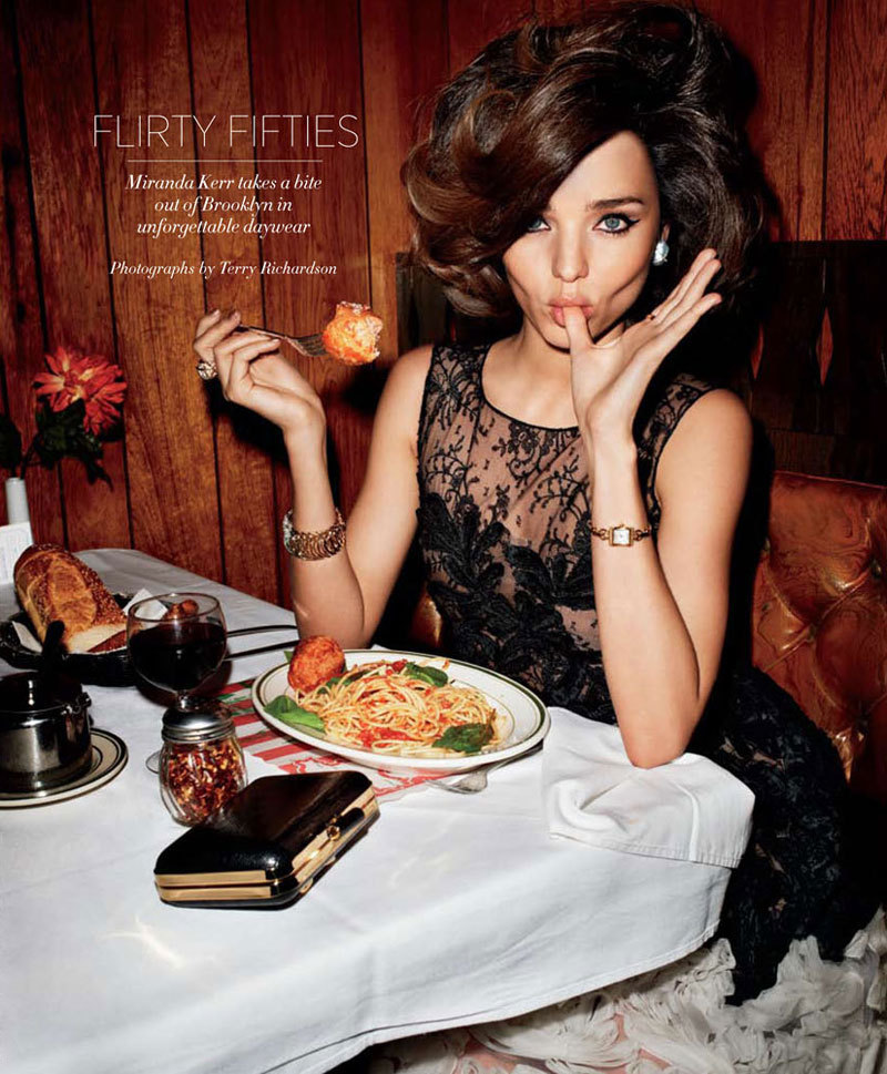 Yummy Miranda Kerr and a plate of spaghetti for Harper's Bazaar