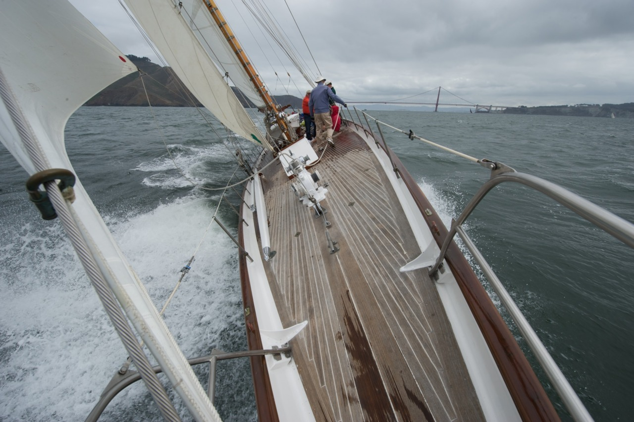 View from the pointy end of Pursuit, a 1929 M Class yacht, one of the last of her kind. Off San Francisco headed into the Pacific.