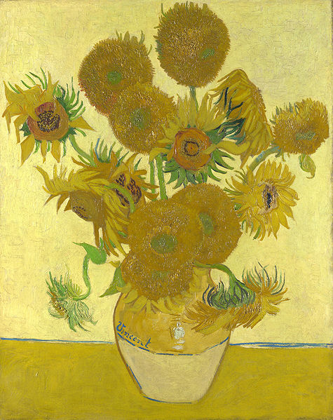 "Van Gogh's Sunflowers Were Genetic Mutants Sunflowers are a consistent theme in van Gogh's body of work, some examples of which are today worth tens of millions of dollars. But the flowers he painted often differ from the common gold blooms we are used to seeing. Was this just impressionist license? A result of his dementia? University of Georgia researchers think they have tracked his ""teddy-bear"" blooms to a set of genetic mutations that are common in sunflowers. They weren't able to cross-breed the green-centered, fluffy varieties of van Gogh's paintings, but they think that all the mutations to do so are out there in the wild. Bonus: Today, March 30, is Vincent van Gogh's birthday! He'd be 162. If he weren't in space, cloned and held prisoner by NASA, animating ocean currents like they were in ""Starry Night"". (via Wired Science)"
