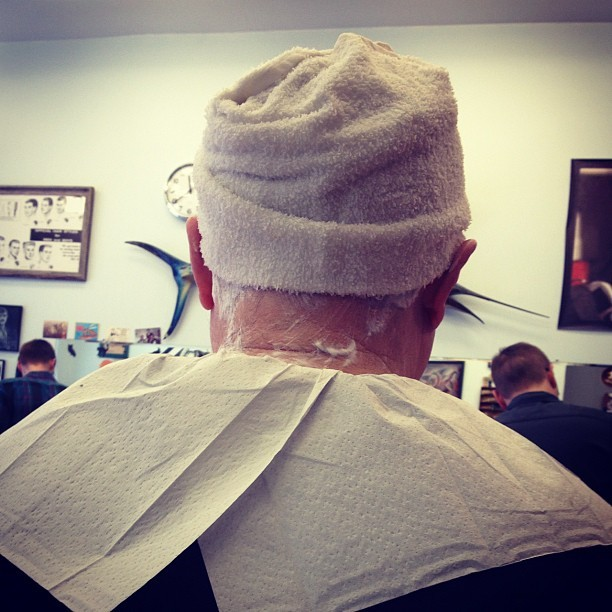 Hot Towel Head Shave (Taken with Instagram at Belmont Barbershop)