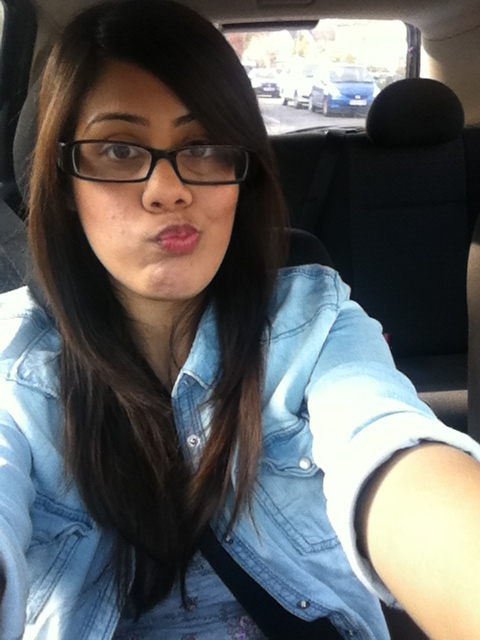 Me in my new denim shirt in my car. Made it home alive so stopped to take a pic of myself =P
